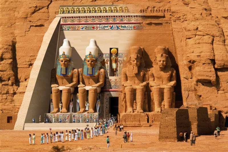 3500 yıl önce tüm heykeller ilüstrasyonda gözüktüğü gibi renklendirilmişti